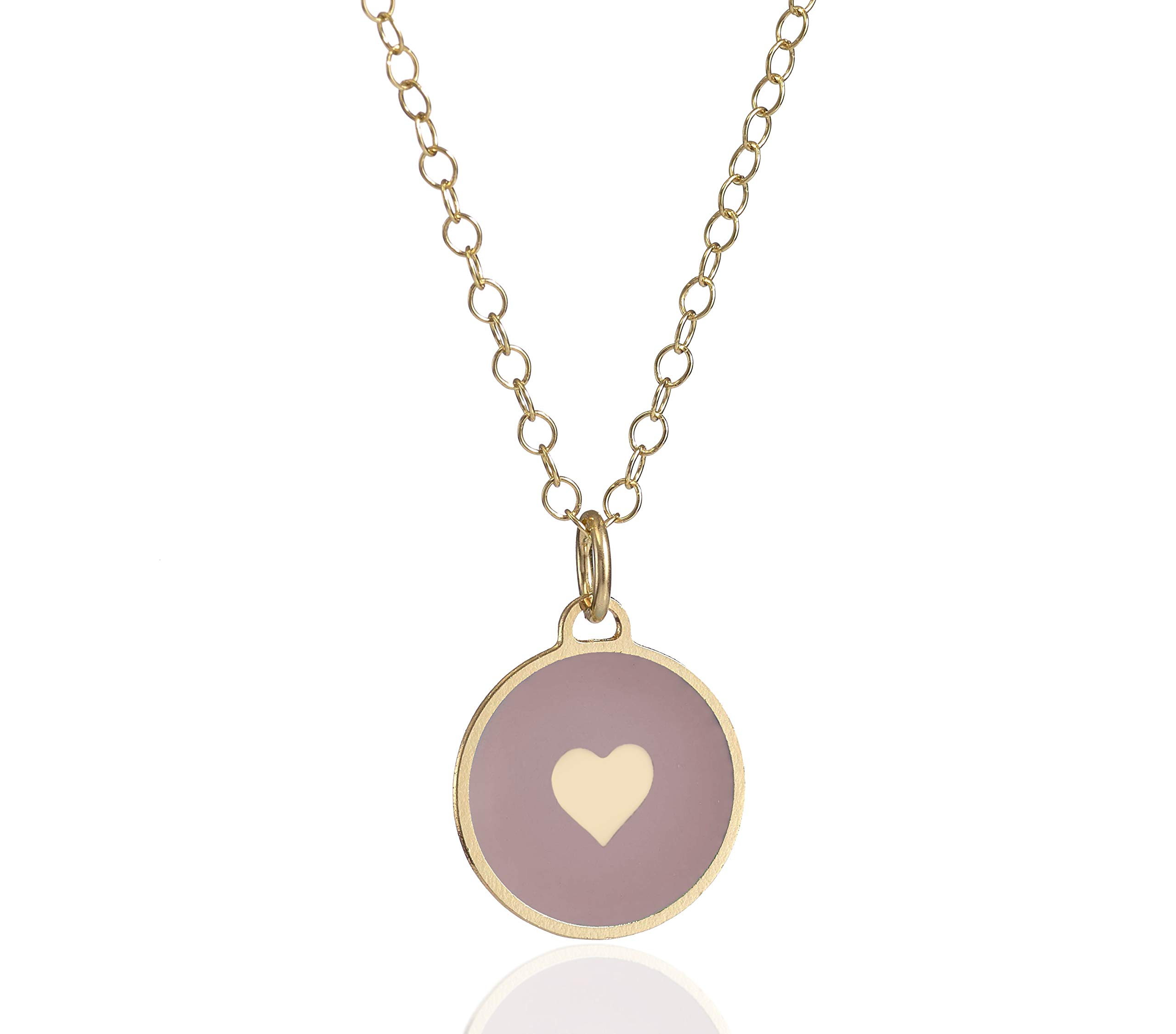 """Gold Plated Heart Necklace Circle Charm Enamel Disc Pendant, 18+2"""" Extender Chain on 'Always' Framed Sign"""