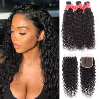 8A Water Wave Bundles with Closure (16 18 20 +14) Wet and Wavy Brazilian Virgin Human Hair 3 Bundles with 4x4 Lace Closure with Baby Hair Free Part 1B# Curly Wave Human Hair Extensions