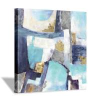 Abstract Artwork Canvas Wall Art: Blue Picture Painting Reproduction for Office (24'' x 24'' x 1 Panel)