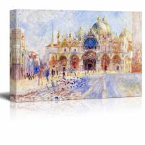 "wall26 - The Piazza San Marco, Venice by Pierre Auguste Renoir - Canvas Print Wall Art Famous Painting Reproduction - 24"" x 36"""