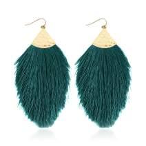 Bohemian Silky Thread Fan Fringe Tassel Statement Earrings - Lightweight Strand Feather Shape Dangles