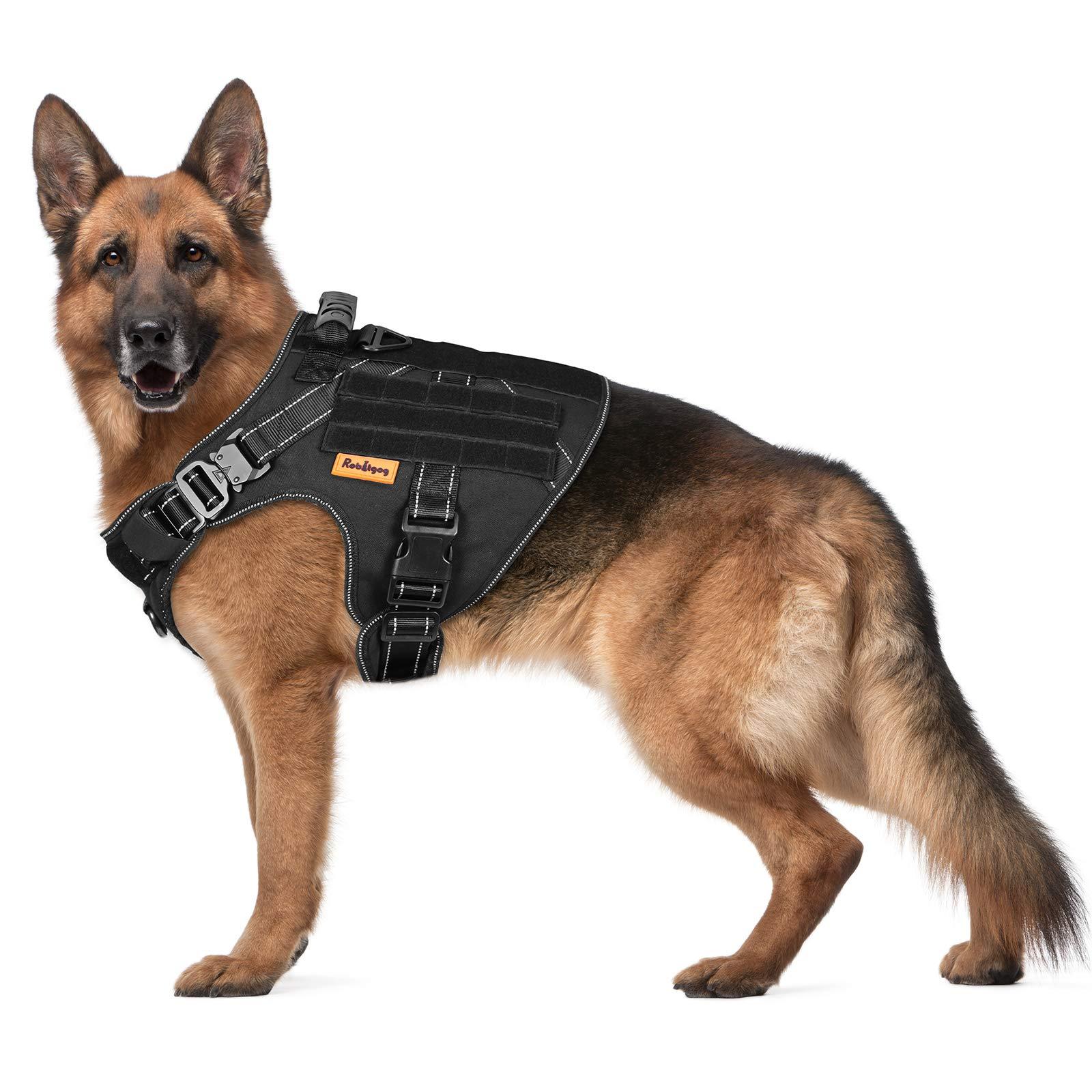 ROBITGOG Tactical Dog Harness Reflective Breathable Service Dog Pet Vest Easy Control Handle 2 Metal Buckle Suitable for Medium/Large Tactical Dog