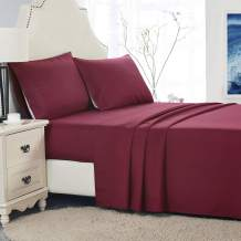 PHOENIX HOME TEXTILES 1500 Collection Soft Brushed Microfiber Sheet Set with 15-Inch Deep Pocket -Wrinkle Fade and Stain Resistant (Twin, Burgundy)