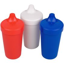 Re-Play Made in USA 3pk No Spill Cups for Baby, Toddler, and Child Feeding in Red, White and Navy Blue | Made from Eco Friendly Heavyweight Recycled Milk Jugs - Virtually Indestructible (Patriotic)