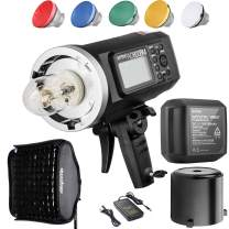 Godox AD600BM Bowens Mount 600Ws GN87 High Speed Sync Outdoor Flash Strobe Light with 80CMX80CM Softbox, 8700mAh Battery to Provide 500 Full Power Flashes and Recycle in 0.01-2.5 Second