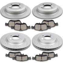 SCITOO 4pcs Discs Rotors and 8pcs Ceramic Brake Pads Fit for 2002-2006 Mini Cooper