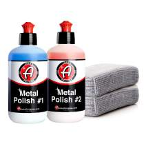 Adam's Metal Polish 1 & 2 Polish & Microfiber Applicators - Polish Aluminum, Chrome, Stainless & Uncoated Metals - Polish #1 Restores Neglected Metals - Polish #2 Achieves Perfection