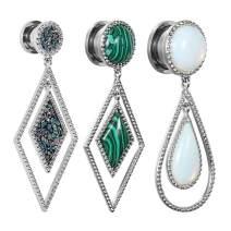 TBOSEN 2 PCS Stainless Steel Teardrop Opal Wedding Earrings Large Dangle Bridal Plug Ear Gauges Expander Body Piercing Jewelry Set