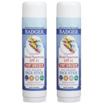 Badger - SPF 35 Clear Zinc Sport Sunscreen Stick - Unscented - Broad Spectrum Water Resistant Reef Safe Sunscreen, Natural Mineral Sunscreen with Organic Ingredients, 0.65 oz (2 pack)