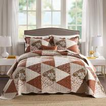 NEWLAKE Quilt Bedspread Sets-Triangle Floral Patterm Reversible Coverlet Set,Queen Size
