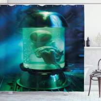 """Ambesonne Outer Space Shower Curtain, Martian UFO Alien in a Aquarium Like Tube Artwork Image, Cloth Fabric Bathroom Decor Set with Hooks, 84"""" Long Extra, Blue Green"""