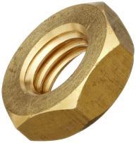 "Brass Hex Jam Nut, Plain Finish, ASME B18.2.2, 1""-14 Thread Size, 1-1/2"" Width Across Flats, 35/64"" Thick"