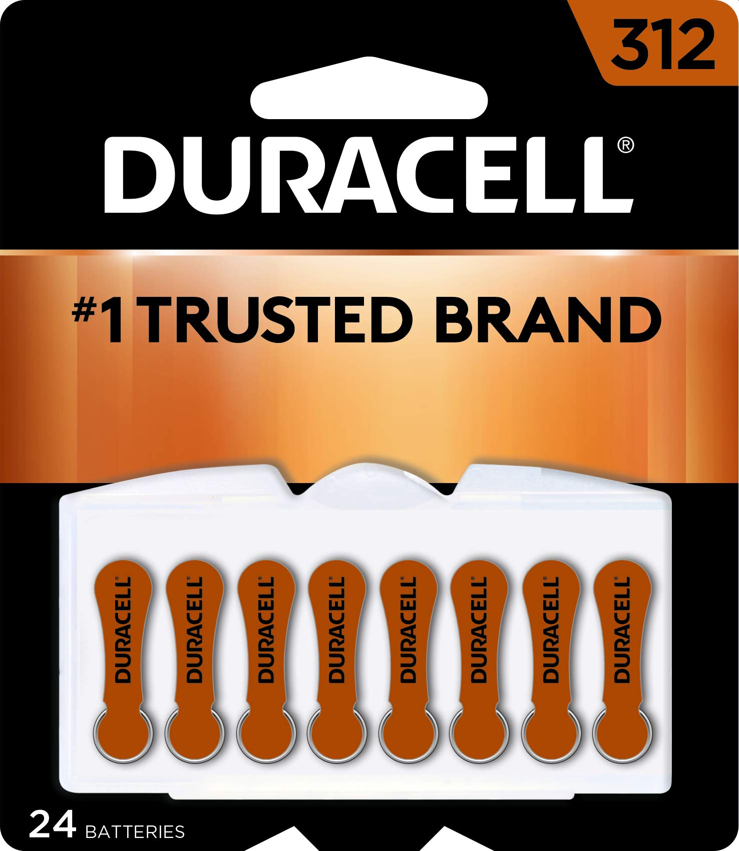 Duracell - Hearing Aid Batteries Size 312 (Brown) - long lasting battery with EasyTab for ease of installation - 24 count