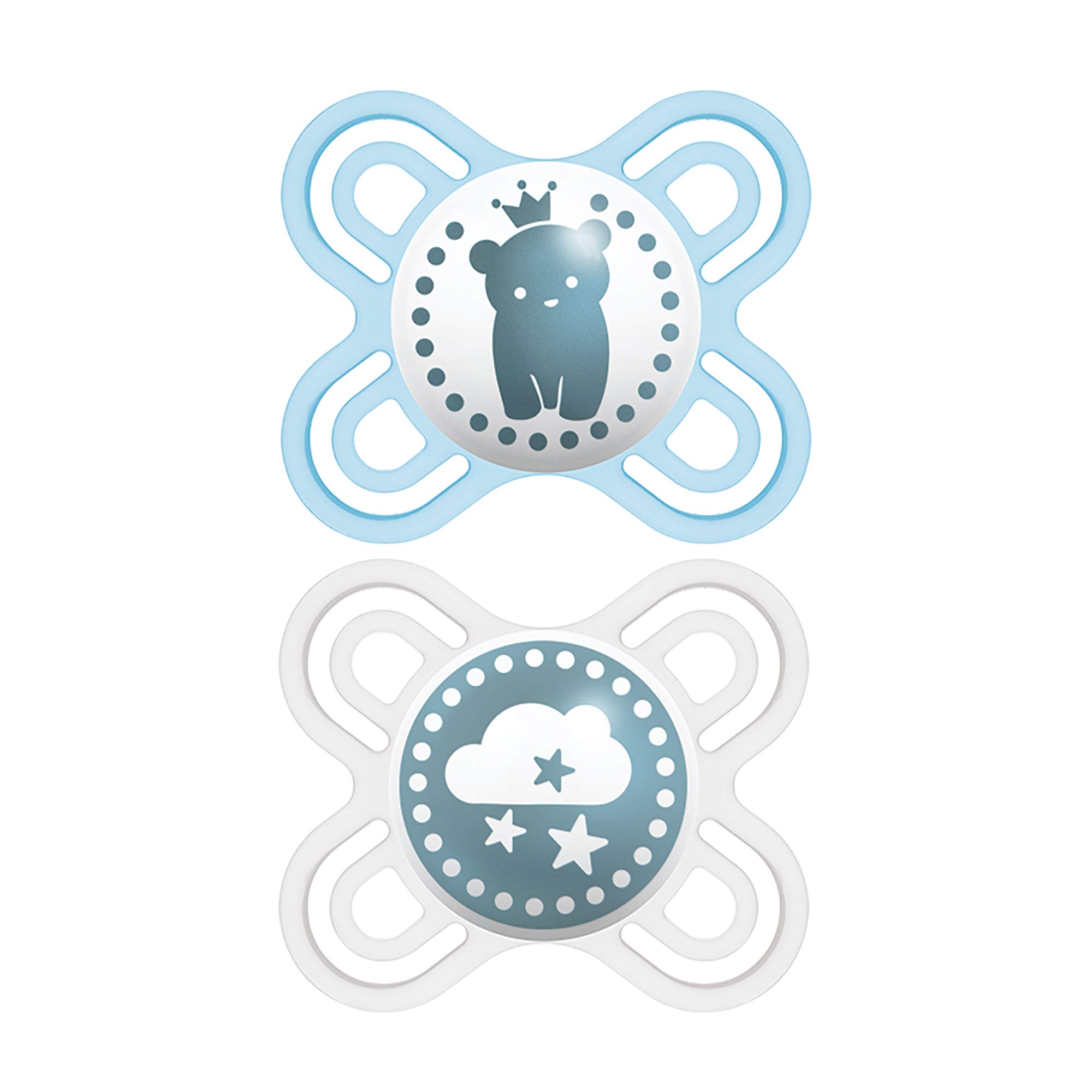 MAM Perfect Start Pacifiers, Orthodontic Pacifiers (2 pack, 1 Sterilizing Pacifier Case) MAM Newborn Pacifiers, Best Pacifier for Breastfed Babies, Baby Boy Pacifier, Designs May Vary