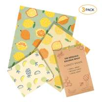 iTrunk Beeswax Food Wraps 3 Pack, Eco Friendly Reusable Food Wraps Package, Sustainable Plastic Free Food Storage for Cheese, Fruit, Vegetable and Bread(1 Small/1 Medium/1 Large)
