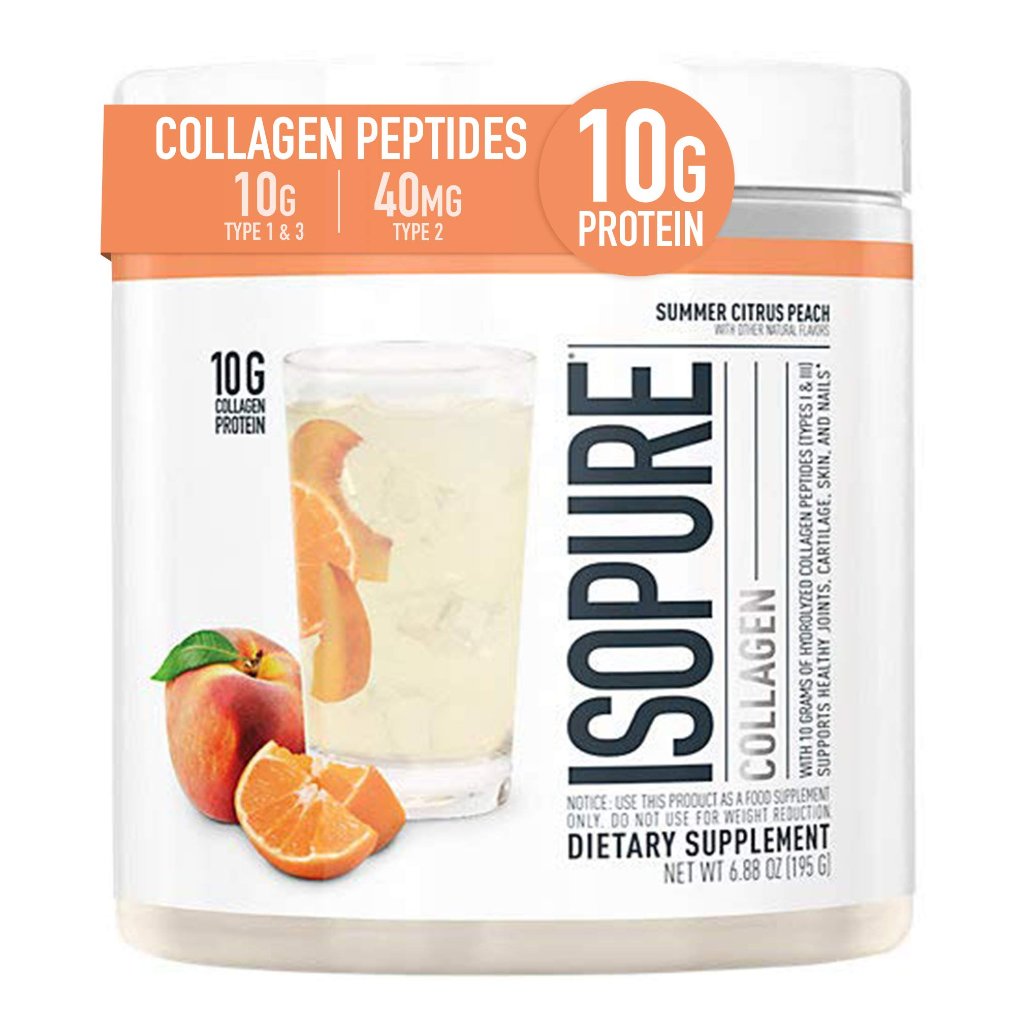 Isopure Multi Collagen Peptides Protein Powder, Vitamin C for Immune Support, Type 1, 2 & 3, Keto Friendly, for Recovery Support, Joints, Cartilage, Skin & Nails - Gluten Free, Citrus Peach, 15 Serv