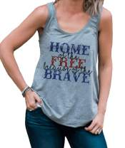 7 ate 9 Apparel Women's Home of The Free 4th of July Grey Tank Top