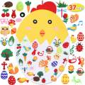Max Fun Children's Felt Easter Chick Set with 37PCS Ornaments DIY Home Decoration Wall Hanging Children's Felt Craft Kits for Easter Party Favors