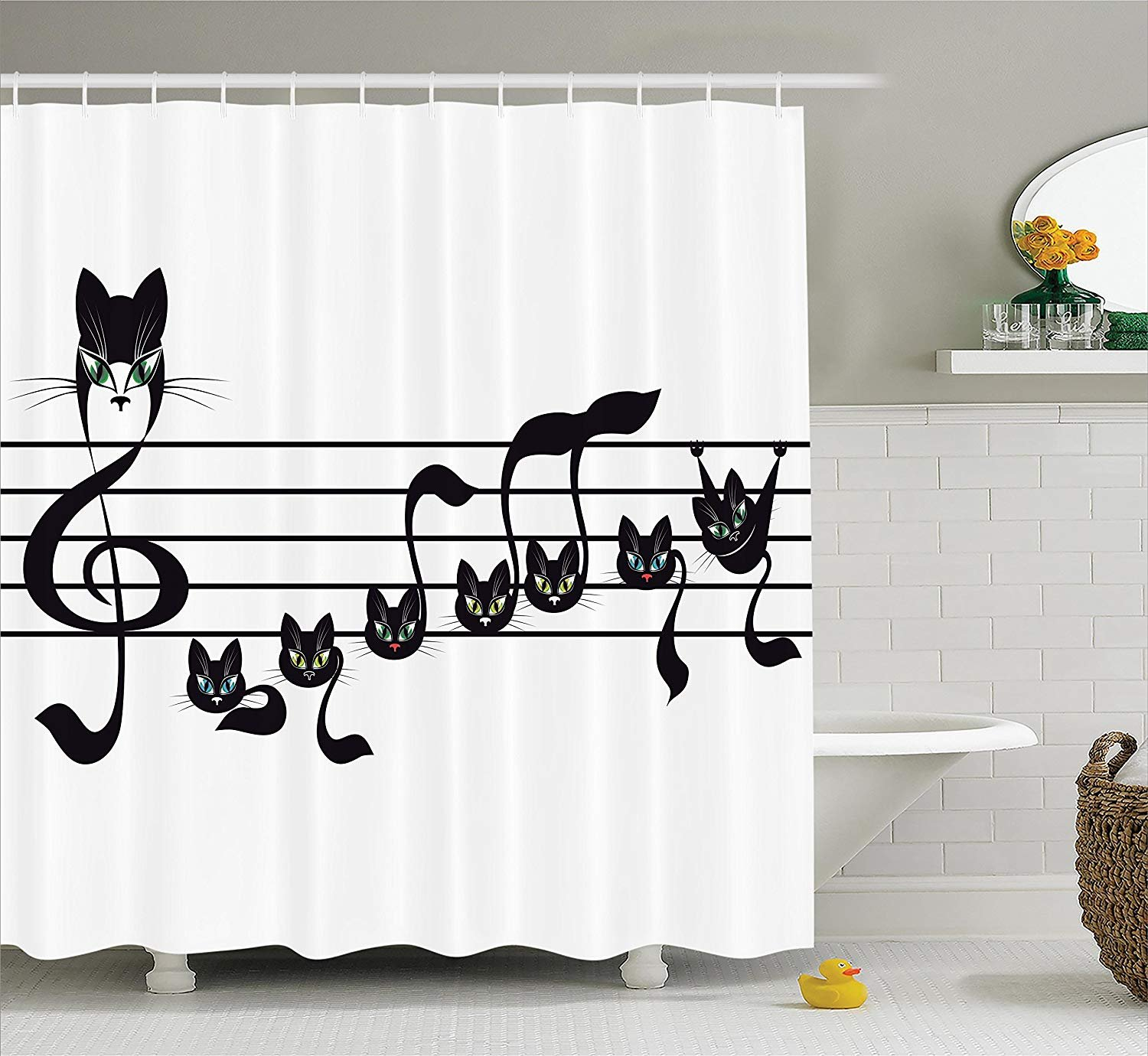 """Ambesonne Music Shower Curtain, Notes Kittens Kitty Cat Artwork Notation Tune Children Halloween Monochrome, Cloth Fabric Bathroom Decor Set with Hooks, 70"""" Long, White and Black"""