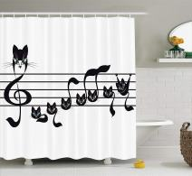 "Ambesonne Music Shower Curtain, Notes Kittens Kitty Cat Artwork Notation Tune Children Halloween Monochrome, Cloth Fabric Bathroom Decor Set with Hooks, 70"" Long, White and Black"
