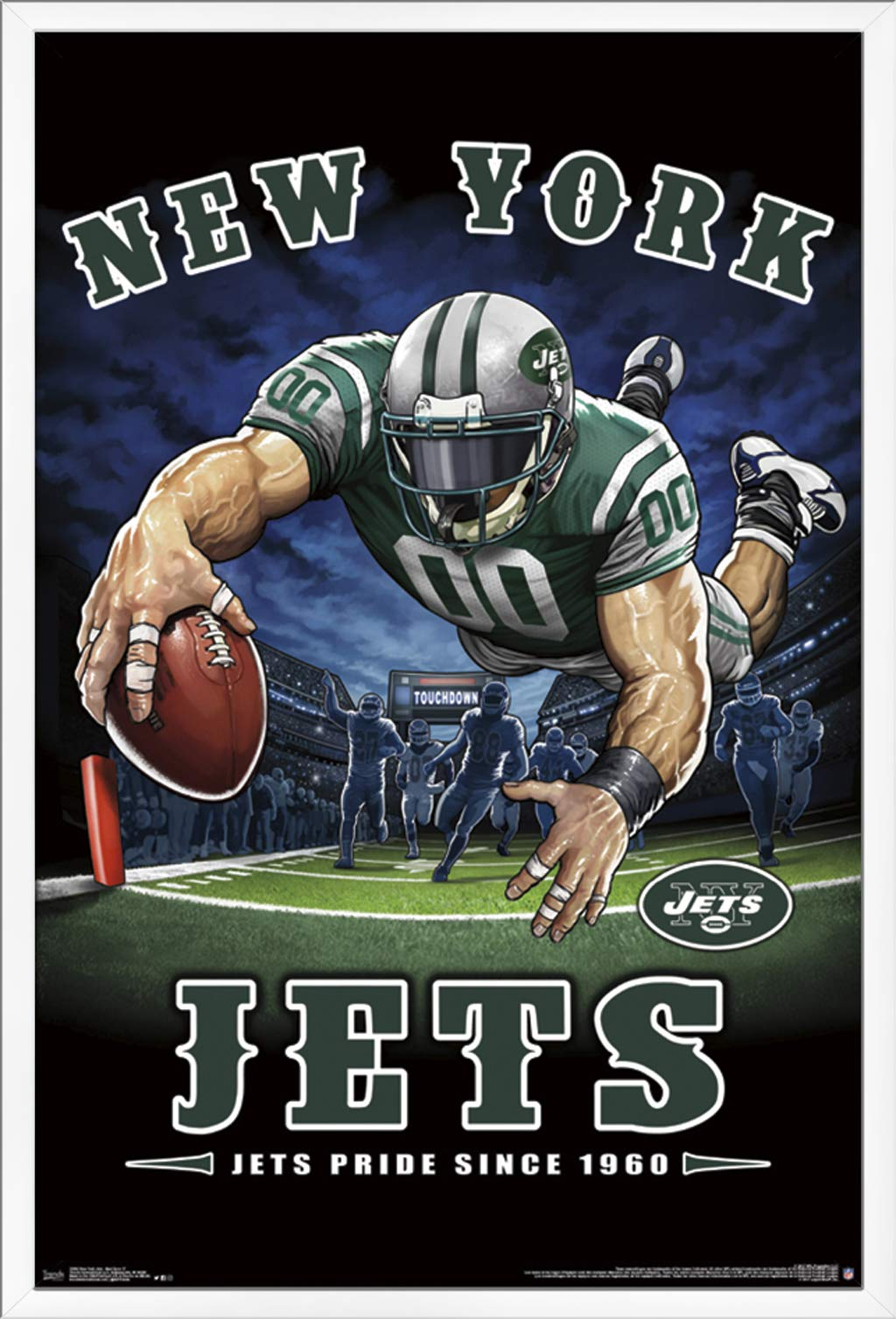 "Trends International NFL New York Jets - End Zone Wall Poster, 22.375"" x 34"", White Framed Version"
