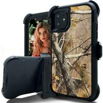 iPhone 11 Holster Case,iPhone 11 Camo Case,Kudex 3 Piece Heavy Duty Outdoor Sport Rubber Hybrid Armor Military High Impact Shockproof Defender Case with Swivel Belt Clip&Kickstand (Tree Black)