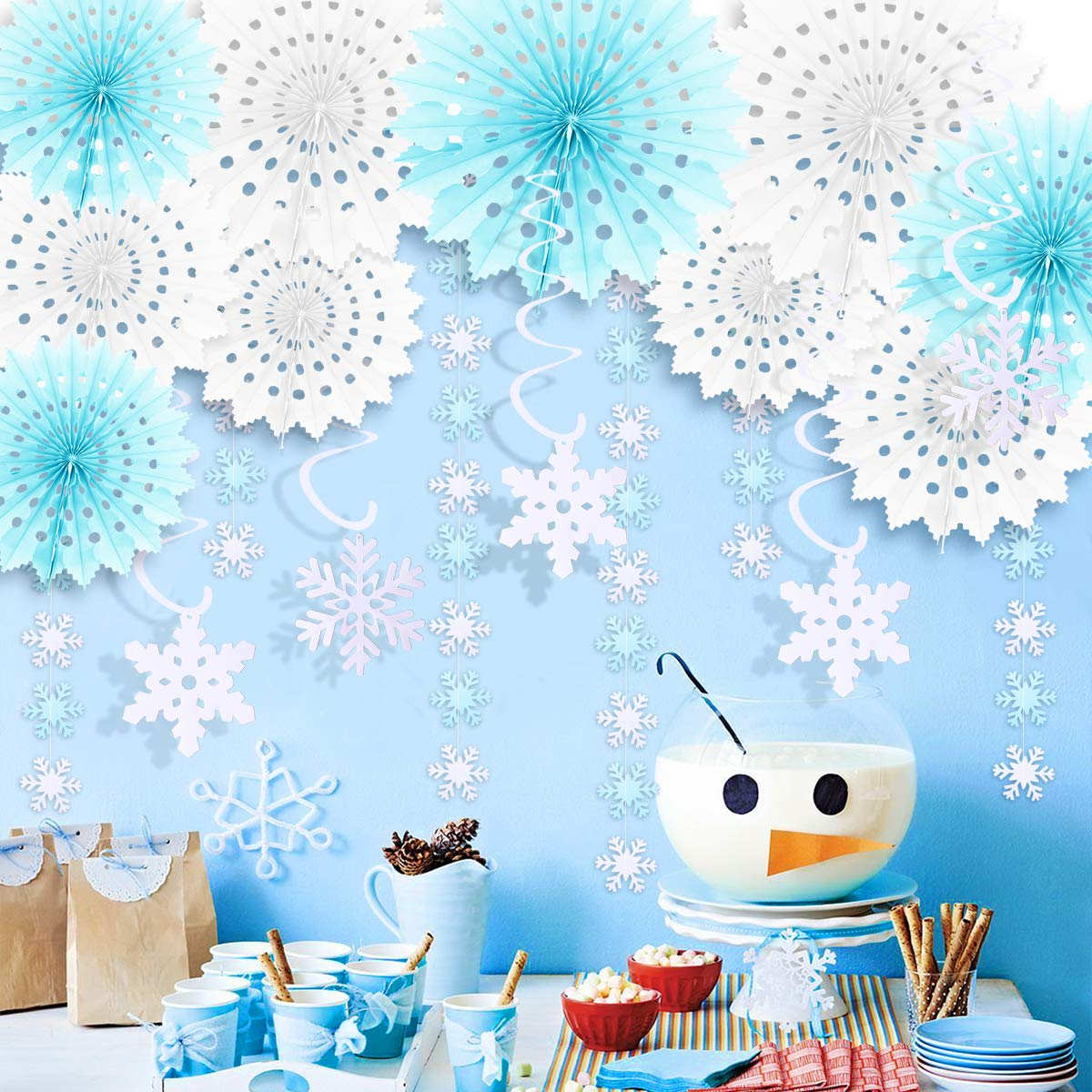 JOYMEMO Winter Snowflake Decorations Winter Wonderland Snowflake Paper Fans Christmas Hanging Swirls for Holiday, Snow Princess Theme Birthday Party Supplies