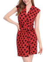 Allegra K Women's Tie Waist Above Knee Sleeveless Polka Dots Printed Wrap Dress