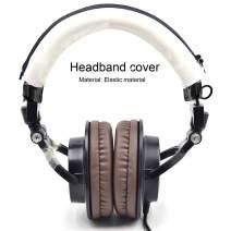 Defean Ear Pads Headphone Protector Headband Fabric for Audio Technica M30 M40 M50 M50X M50S M40X Headphone (White Protector Headband)