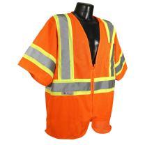 Radians SV22-3ZOM-M Polyester Mesh Economy Class-3 Safety Vests with Two Tone Trim, Medium, Orange