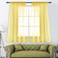 KEQIAOSUOCAI Rod Pocket Cream Yellow Sheer Curtains 45 Inches Long for Nursery Baby Room 2 Panels 52x45
