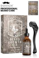2 In 1 Beard Growth Kit, DOVICH Derma Beard Roller, Beard Growth Serum For Conditioning, Thickening, Mustache & Beard Care, Natural Beard Growth products For Mustache & Beard Boost, Beard Stimulator