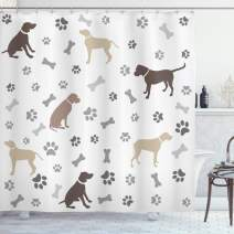"""Ambesonne Dog Lover Shower Curtain, Paw Print Bones and Dog Silhouettes American Foxhound Breed Playful Pattern, Cloth Fabric Bathroom Decor Set with Hooks, 84"""" Long Extra, Umber Beige"""