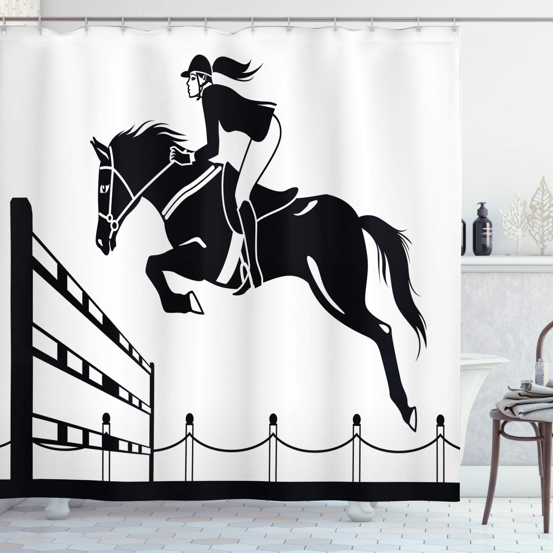 "Ambesonne Cartoon Shower Curtain, Racing Horse with a Jockey Girl Jumping Above Barrier Barn Farming Print, Cloth Fabric Bathroom Decor Set with Hooks, 70"" Long, White Grey"