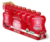 Mamma Chia Squeeze (Cherry Beet) Organic Vitality Pouches, 16 Count, Healthy Snacks, Vegan Fruit and Veggie Puree, Non GMO, Gluten Free, No Added Sugar, 1200mg Omega-3, 3.5oz (Pack of 16)