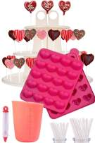 I Heart Cake Pops - - Jam packed with silicone cakepop baking mold, 120 lollipop sticks, candy and chocolate melting pot, decorating pen, bags, twist ties & 3-Tier display stand holder