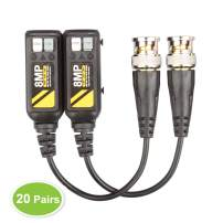 20 Pairs Video Balun Connectors Passive AHD/TVI/CVI/CVBS Signal Transceivers Max. 8MP Compatible with 720P/960P/1080P/3MP/5MP Single Channel for BNC Male Cable CCTV Security Camera System