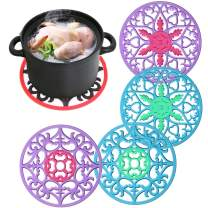 Dushi 4 Set Silicone Round Trivet Mulit-Purpose Spoon Rest Insulated Flexible Pot Holder Coasters Hot Pads Placemats