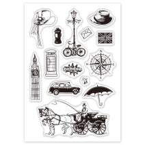 GLOBLELAND British Style Clear Stamps Silicone Stamp Cards London Tower Carriage Car Bicycle Umbrella Vintage Clear Stamps for Card Making Decoration and DIY Scrapbooking