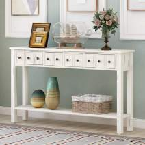 "Rustic Entryway Console Table, 60"" Long Sofa Table with Two Different Size Storage Drawers and Bottom Shelf for Living Room, Hallway, Entryway, Easy Assembly (Antique White)"