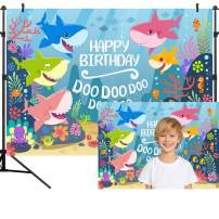 OUYIDA 9X6FT Blue Ocean Shark Birthday Party Background Baby Shark Party Backdrop Baby Shark Banner Photography backdrops Vinyl Photo Studio Props PCK25B
