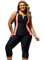 ZKESS Women Color Block Zipper Front Surfing Swim Suit 2PC Swimsuit Rash Guards S - XXXL Plus Size
