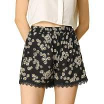 Allegra K Women's Shorts Allover Floral Printed Lace Trim Hem Elastic Waist Beach Shorts