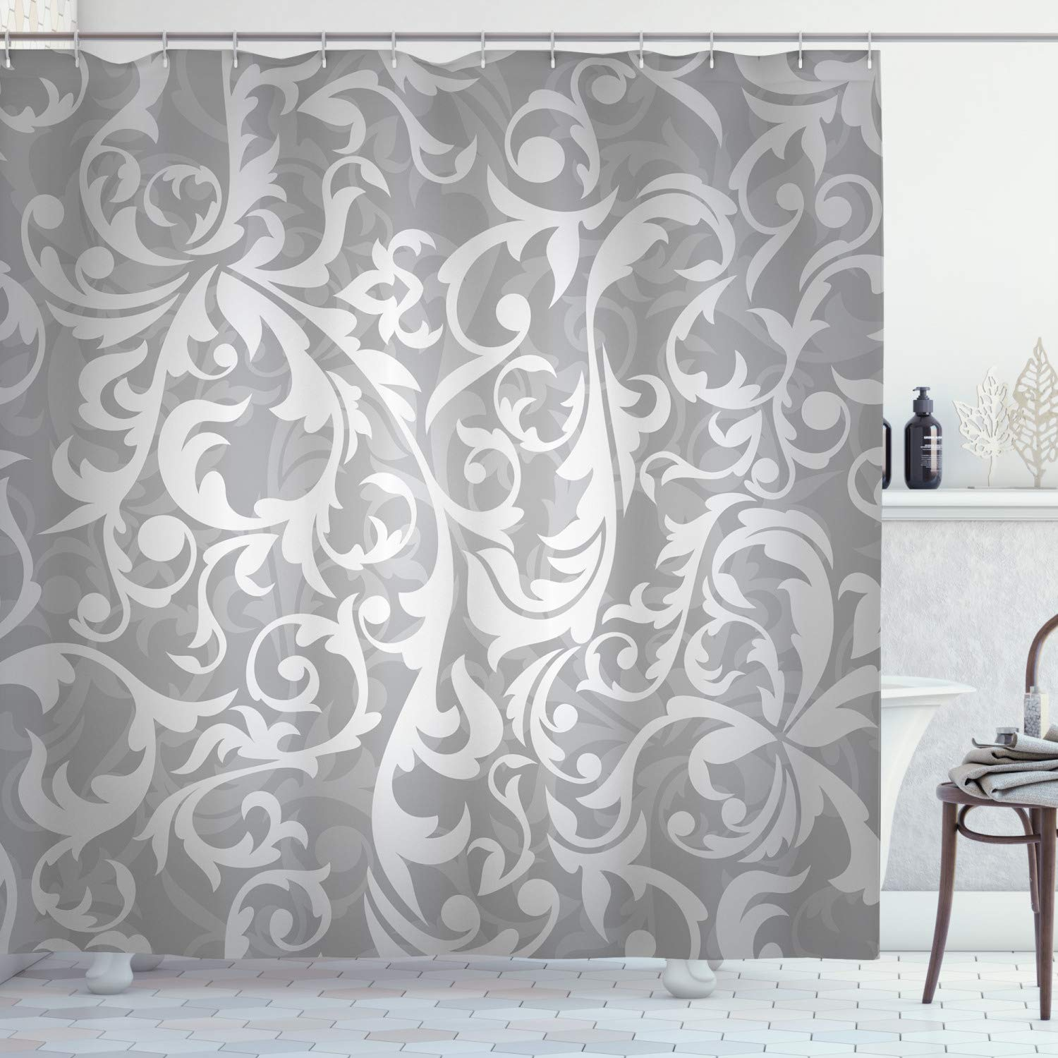"""Ambesonne Grey Shower Curtain, Victorian Style Large Leaf Floral Pattern Swirl Classic Abstract French Vintage Print, Cloth Fabric Bathroom Decor Set with Hooks, 70"""" Long, Gray"""