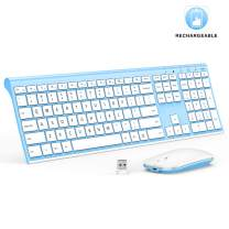 Rechargeable Wireless Keyboard Mouse, Jelly Comb 2.4GHz Ultra Slim Full Size Wireless Keyboard Mouse Combo for Laptop, Notebook, PC, Desktop, Computer, Windows OS (White and Blue)