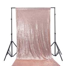 TRLYC 6Ft6Ft Rose Gold Shimmer Photography Backdrop Sequin Wedding Curtain