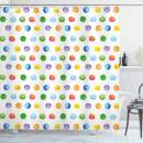 """Ambesonne Abstract Shower Curtain, Big Polka Dots Colorful Circles Watercolor Paintbrush Modern Artwork, Cloth Fabric Bathroom Decor Set with Hooks, 70"""" Long, Multicolor"""