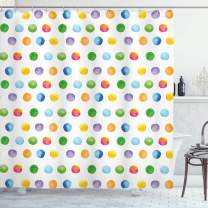 "Ambesonne Abstract Shower Curtain, Big Polka Dots Colorful Circles Watercolor Paintbrush Modern Artwork, Cloth Fabric Bathroom Decor Set with Hooks, 84"" Long Extra, Multicolor"