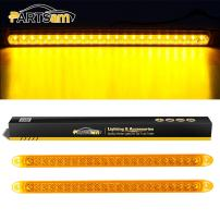 "Partsam 2PCS Amber Yellow 17"" Inch 23 LED Turn Signal Stop Tail Parking Sealed Clearance Marker ID Identification Light Bars Waterproof 12V for Trailer Truck Boat RV Camper"
