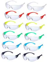 24 Pieces Protective Polycarbonate Eyewear Anti-Scratch Safety Glasses Impact Resistant Lens, One Size for Eye Protection (Multicolor)